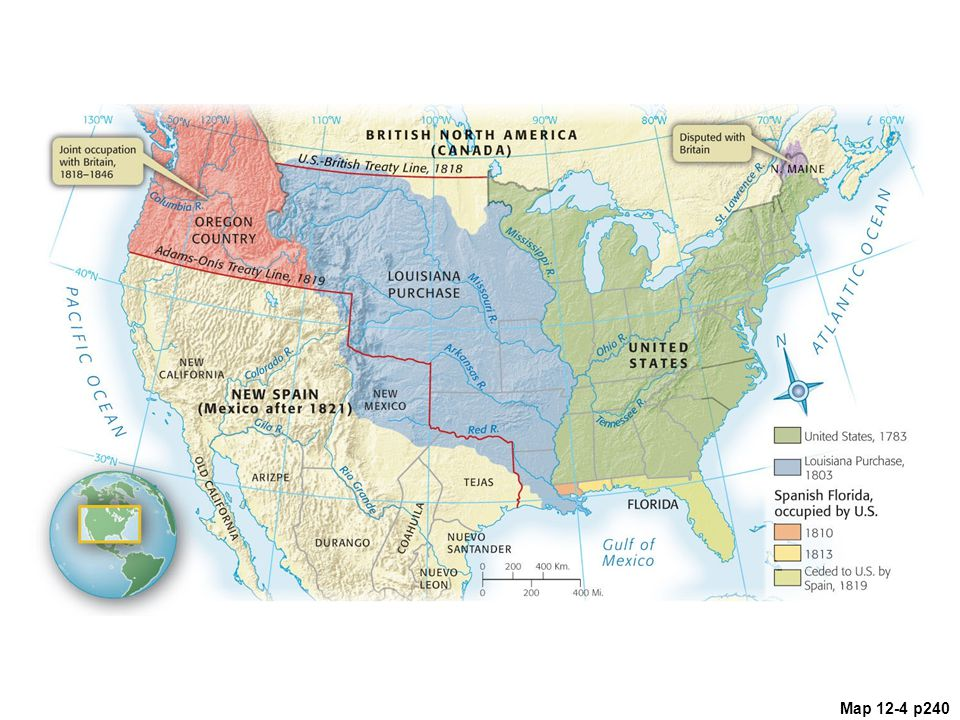 Map 12.4 U.S.-British Boundary Settlement, 1818 Note that the United States gained