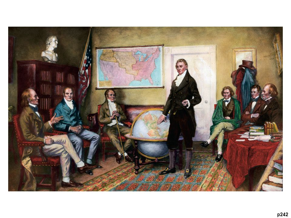 President Monroe Thinking Globally Surrounded by his cabinet, the president is
