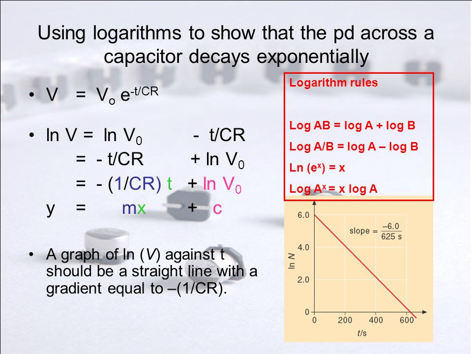 Using logarithms to show that the pd across a capacitor decays exponentially