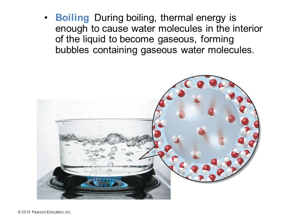 Boiling During boiling, thermal energy is enough to cause water molecules in the interior of the liquid to become gaseous, forming bubbles containing gaseous water molecules.
