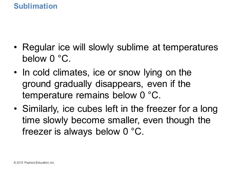 Regular ice will slowly sublime at temperatures below 0 °C.