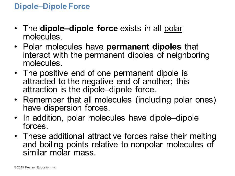 The dipole–dipole force exists in all polar molecules.