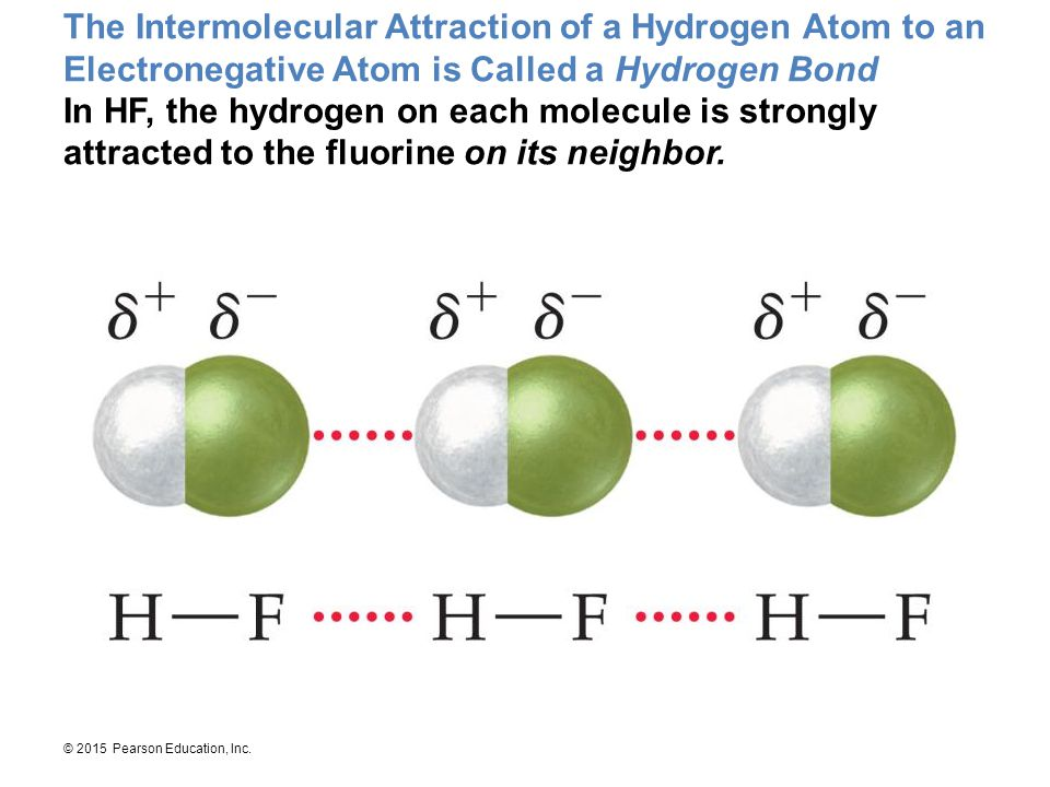 The Intermolecular Attraction of a Hydrogen Atom to an Electronegative Atom is Called a Hydrogen Bond In HF, the hydrogen on each molecule is strongly attracted to the fluorine on its neighbor.