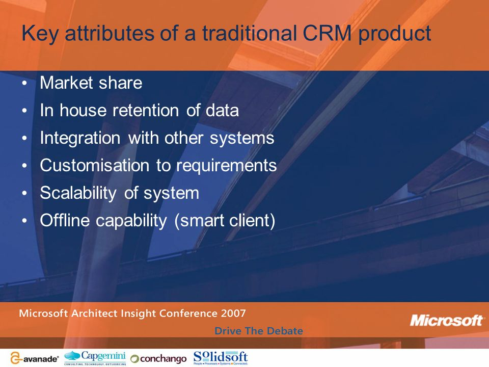 Key attributes of a traditional CRM product