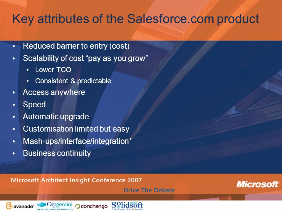 Key attributes of the Salesforce.com product
