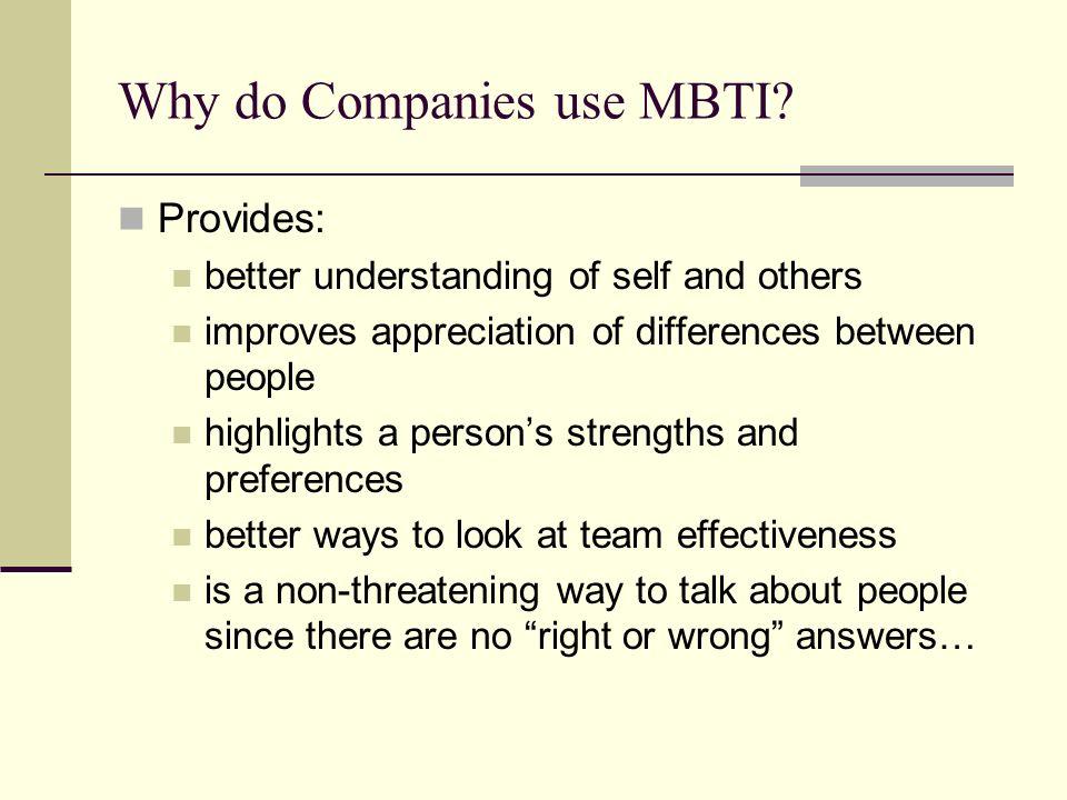 Why do Companies use MBTI