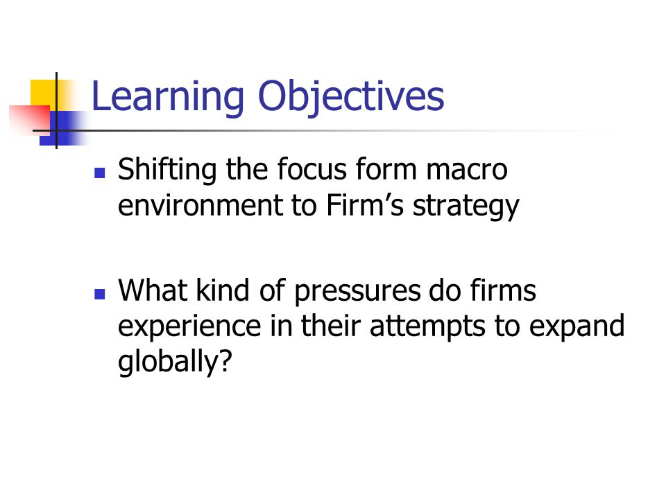 Learning Objectives Shifting the focus form macro environment to Firm's strategy.