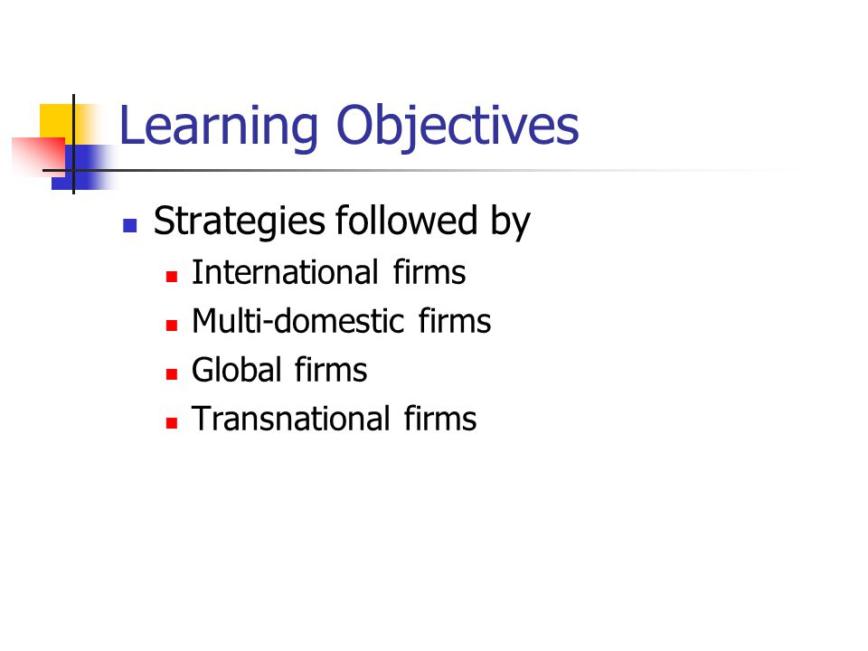 Learning Objectives Strategies followed by International firms