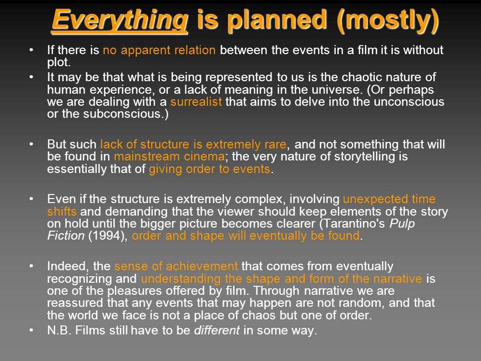 Everything is planned (mostly)
