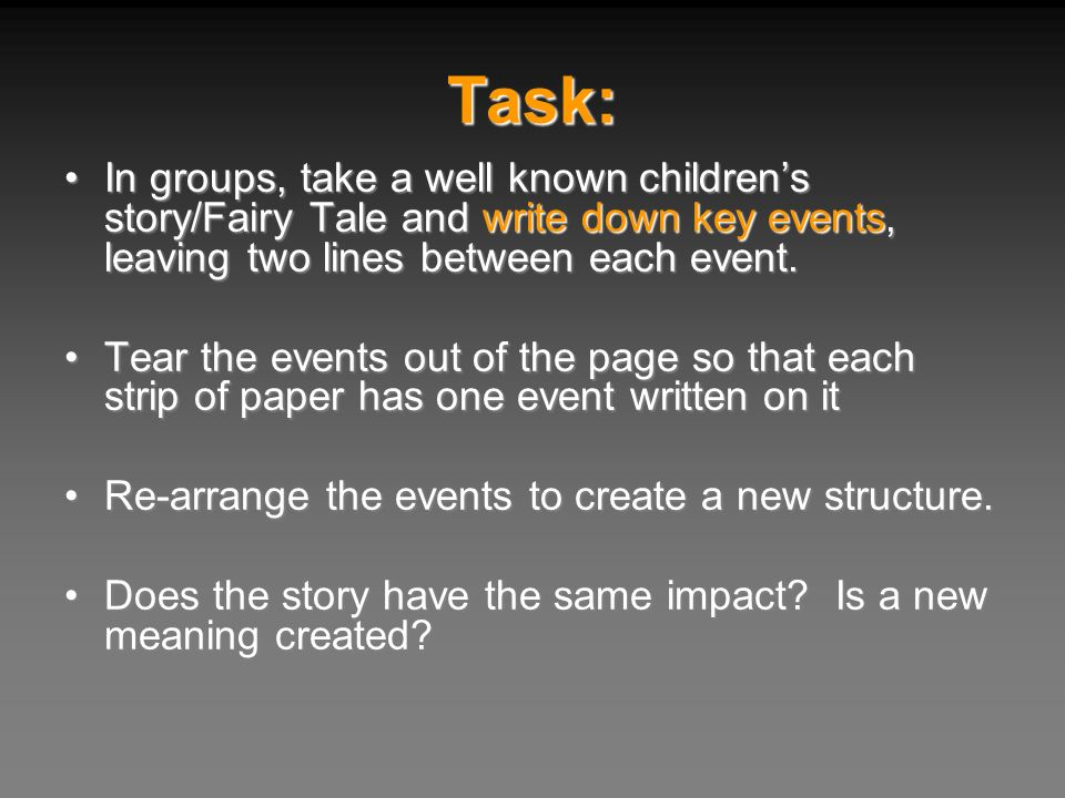 Task: In groups, take a well known children's story/Fairy Tale and write down key events, leaving two lines between each event.
