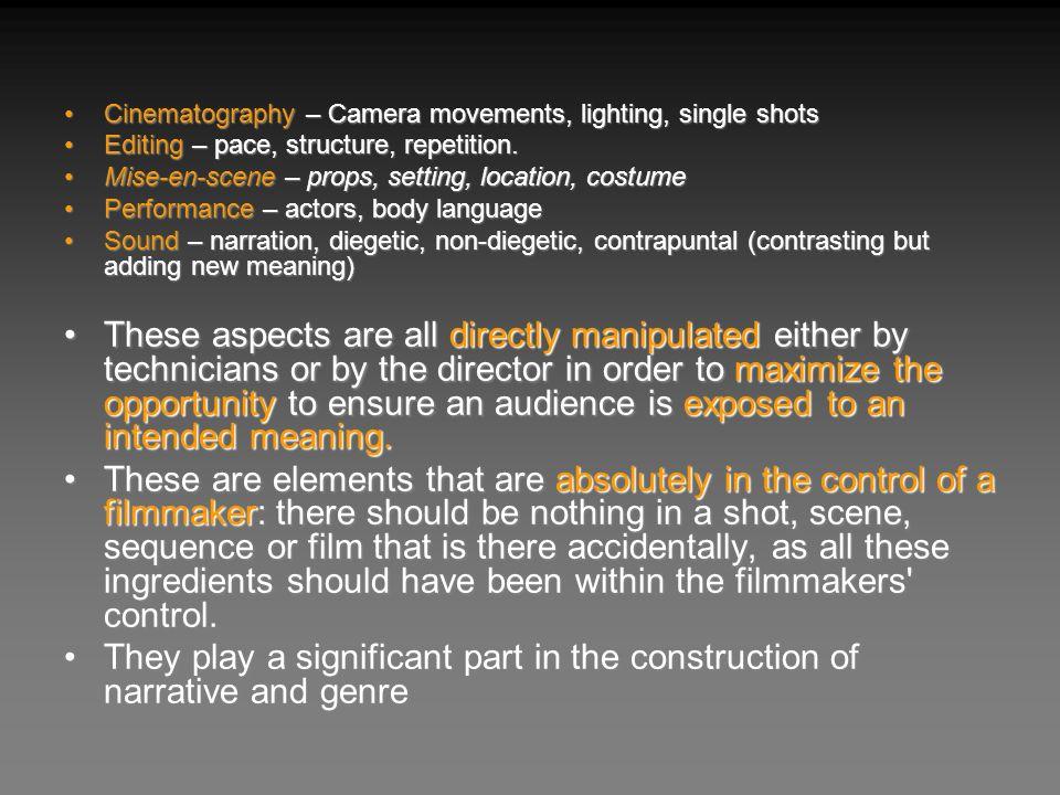 Cinematography – Camera movements, lighting, single shots