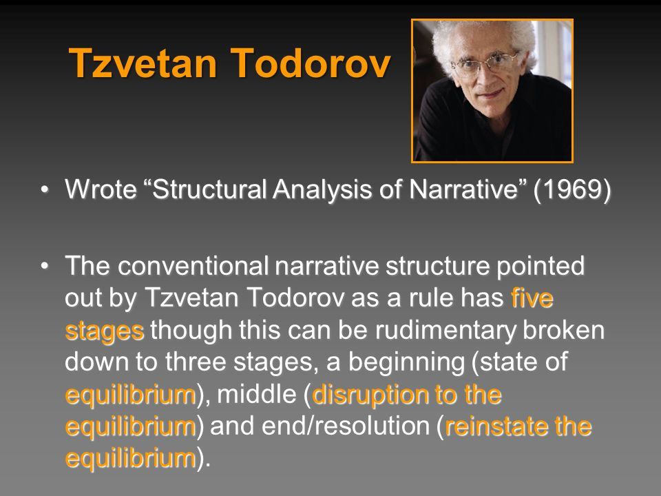 Tzvetan Todorov Wrote Structural Analysis of Narrative (1969)