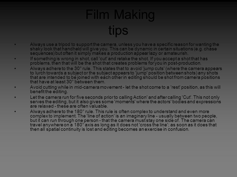 Film Making tips