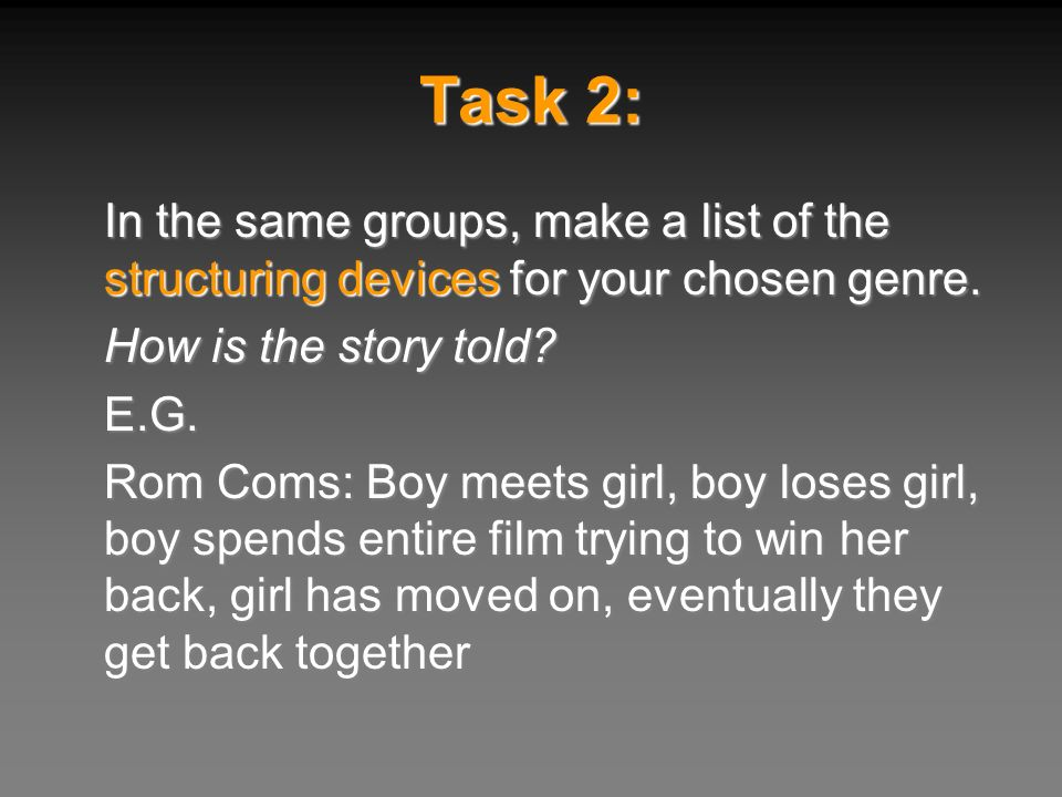 Task 2: In the same groups, make a list of the structuring devices for your chosen genre. How is the story told