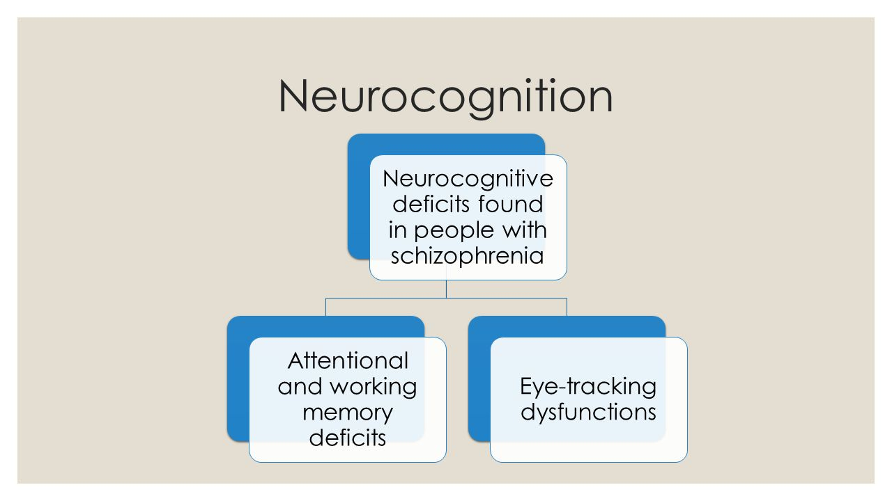Neurocognition Neurocognitive deficits found in people with schizophrenia. Attentional and working memory deficits.