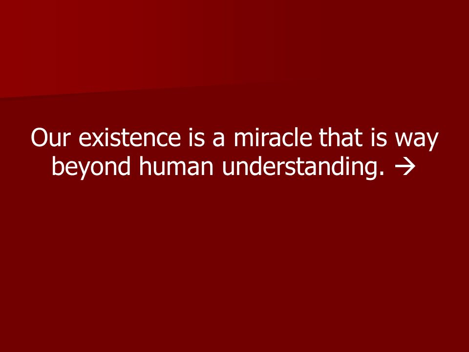 Our existence is a miracle that is way beyond human understanding. 