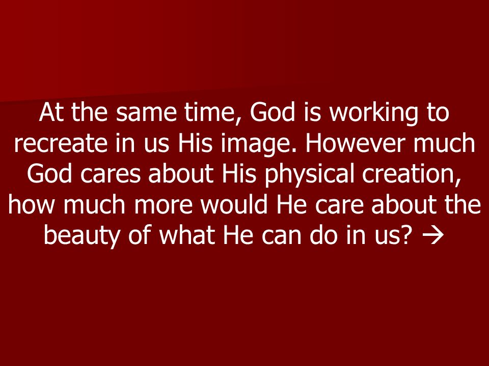 At the same time, God is working to recreate in us His image