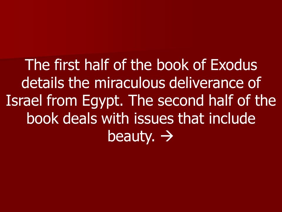 The first half of the book of Exodus details the miraculous deliverance of Israel from Egypt.