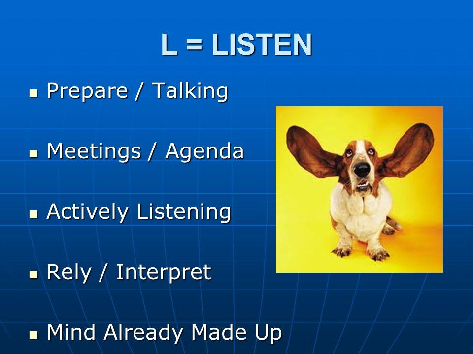 L = LISTEN Prepare / Talking Meetings / Agenda Actively Listening
