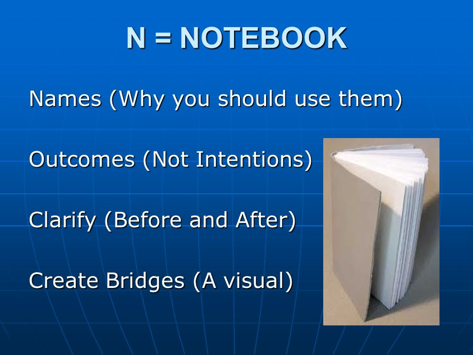 N = NOTEBOOK Names (Why you should use them) Outcomes (Not Intentions)