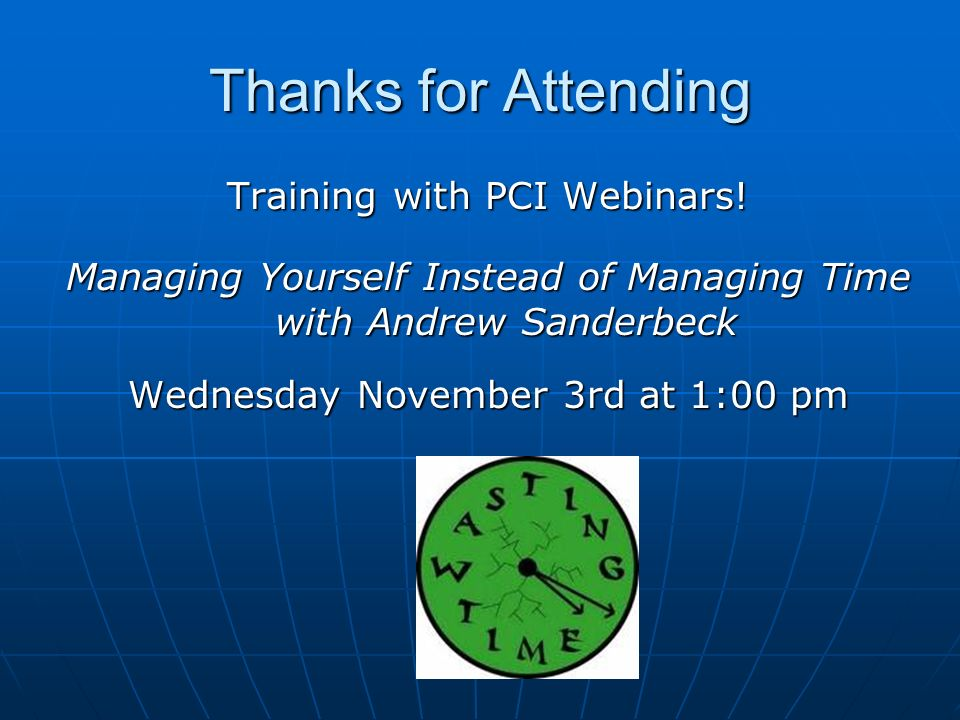 Thanks for Attending Training with PCI Webinars!