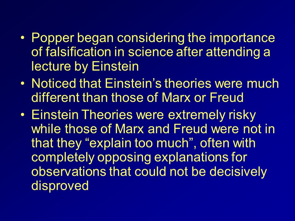 Popper began considering the importance of falsification in science after attending a lecture by Einstein