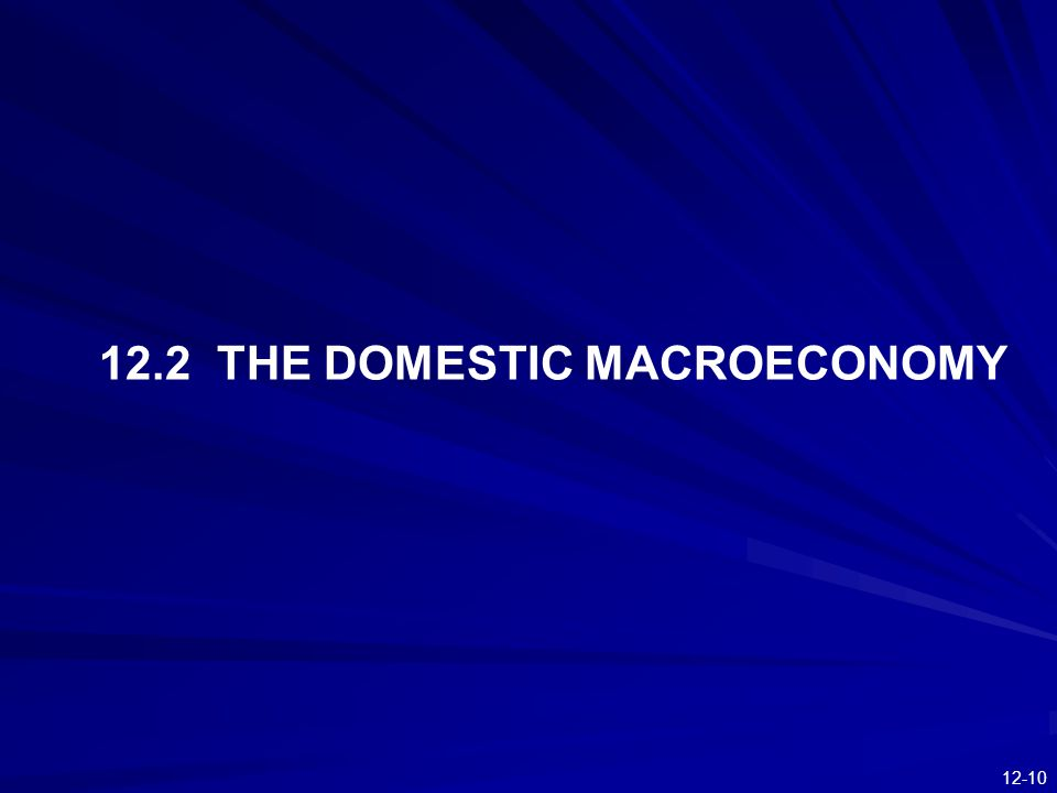 12.2 THE DOMESTIC MACROECONOMY