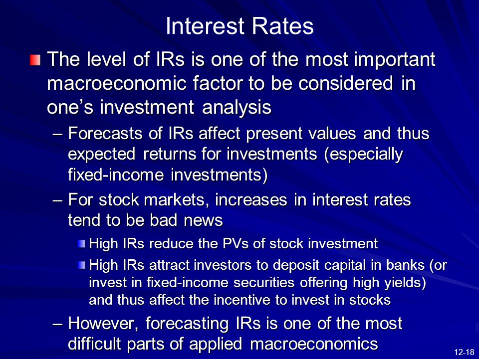 Interest Rates The level of IRs is one of the most important macroeconomic factor to be considered in one's investment analysis.