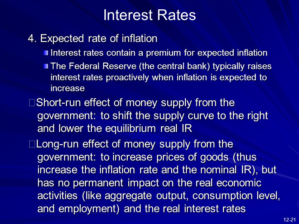 Interest Rates 4. Expected rate of inflation