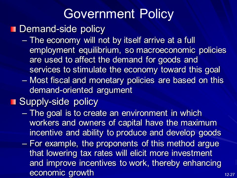 demand side policies 2014/12/1  policies that try to shift the aggregate demand by being an economic theory that advocates use of government spending and growth in the money supply to stimulate the demand for goods and services and therefore expand economic activity arguments for demand-side policies try to bring aggregate demand.