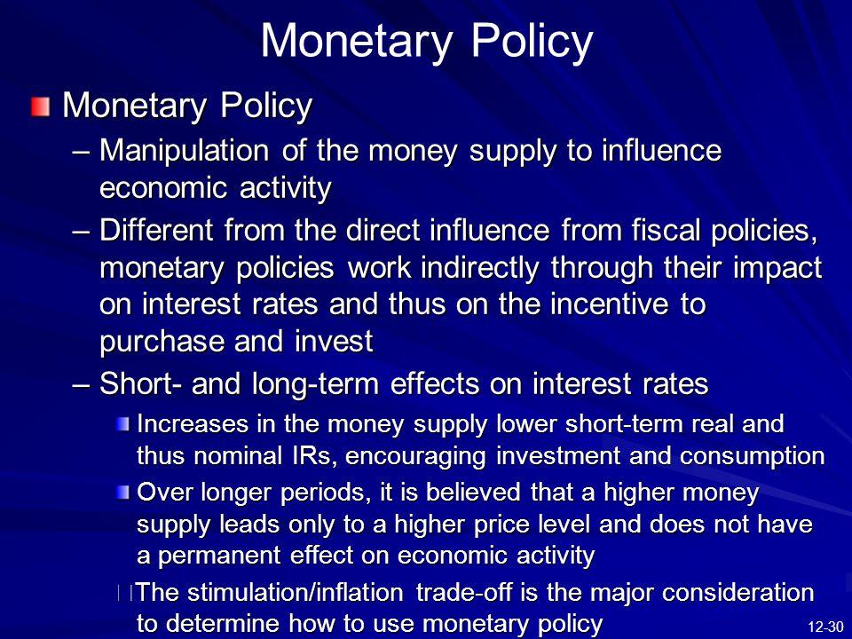 Monetary Policy Monetary Policy