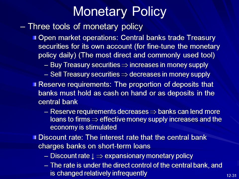 an analysis of monetary policy by reserve bank Economists have analyzed many monetary policy rules, including the well-known  taylor (1993) rule other rules include the balanced.