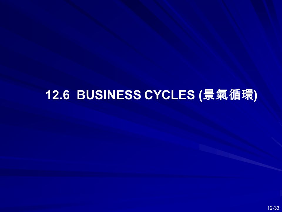 12.6 BUSINESS CYCLES (景氣循環)