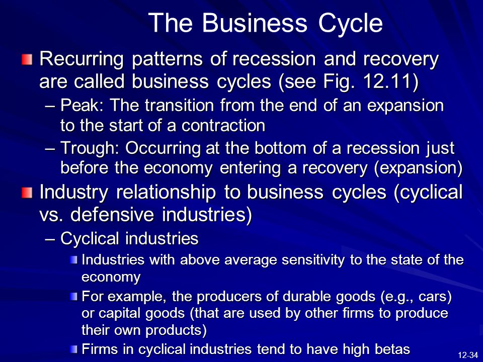 The Business Cycle Recurring patterns of recession and recovery are called business cycles (see Fig. 12.11)