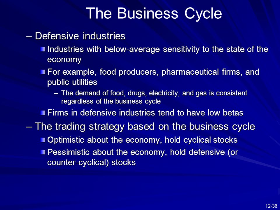 The Business Cycle Defensive industries