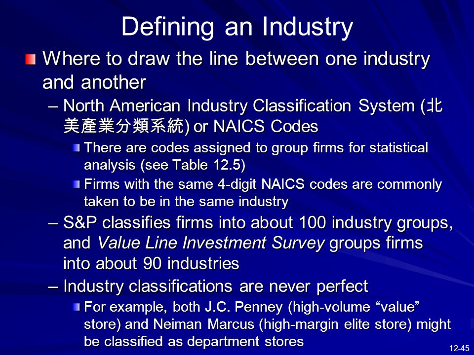 Defining an Industry Where to draw the line between one industry and another.