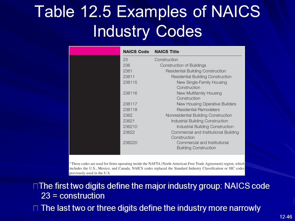 Table 12.5 Examples of NAICS Industry Codes