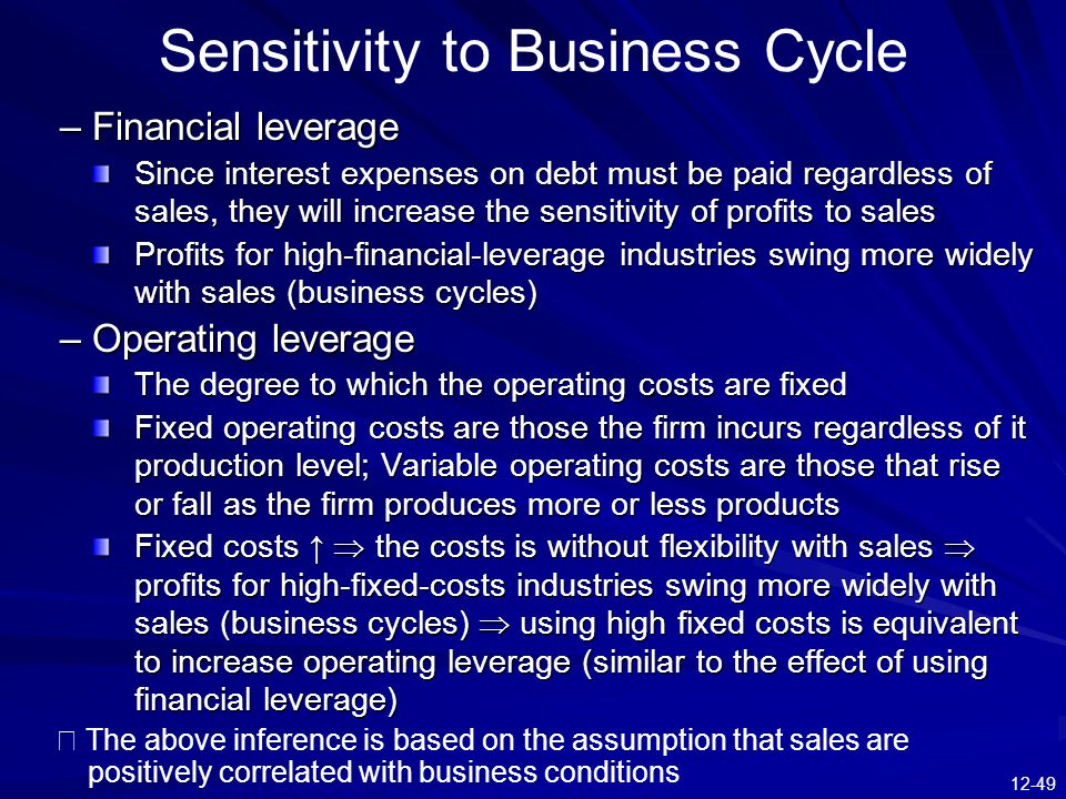 Sensitivity to Business Cycle