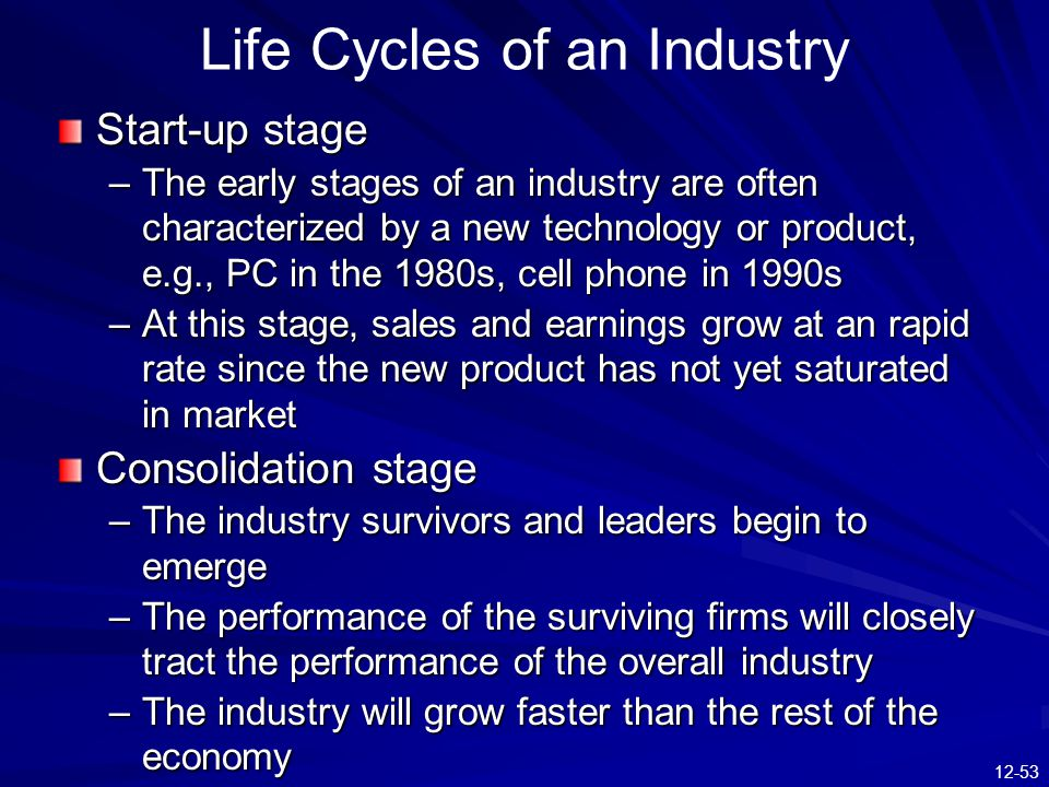 Life Cycles of an Industry