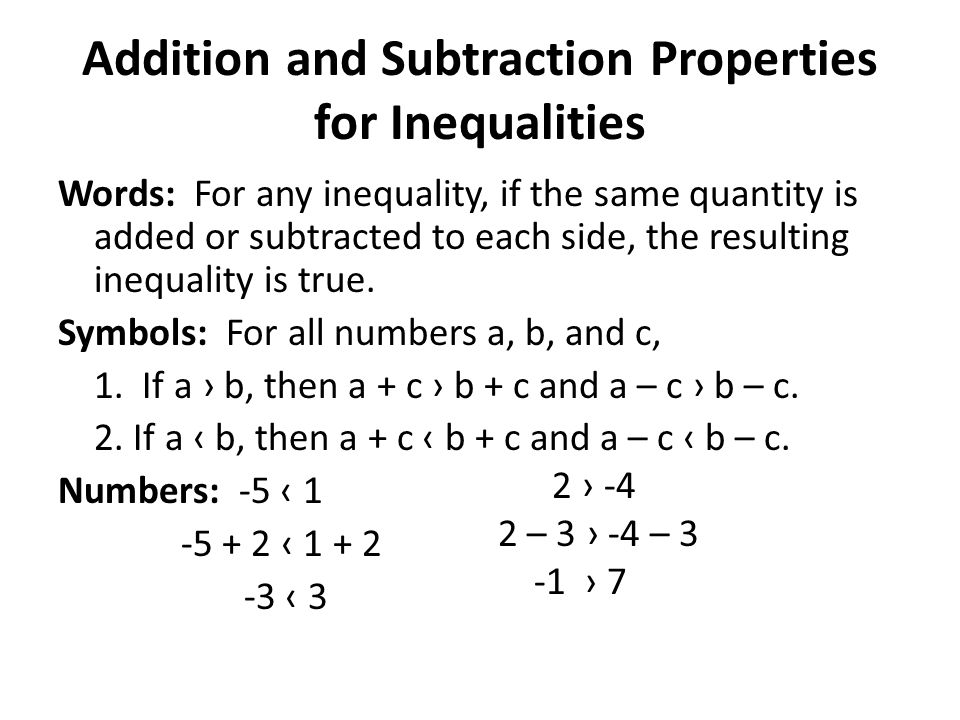 Addition and Subtraction Properties for Inequalities