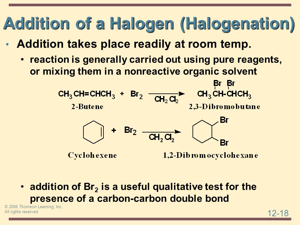 Addition of a Halogen (Halogenation)