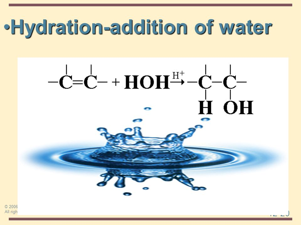 Hydration-addition of water