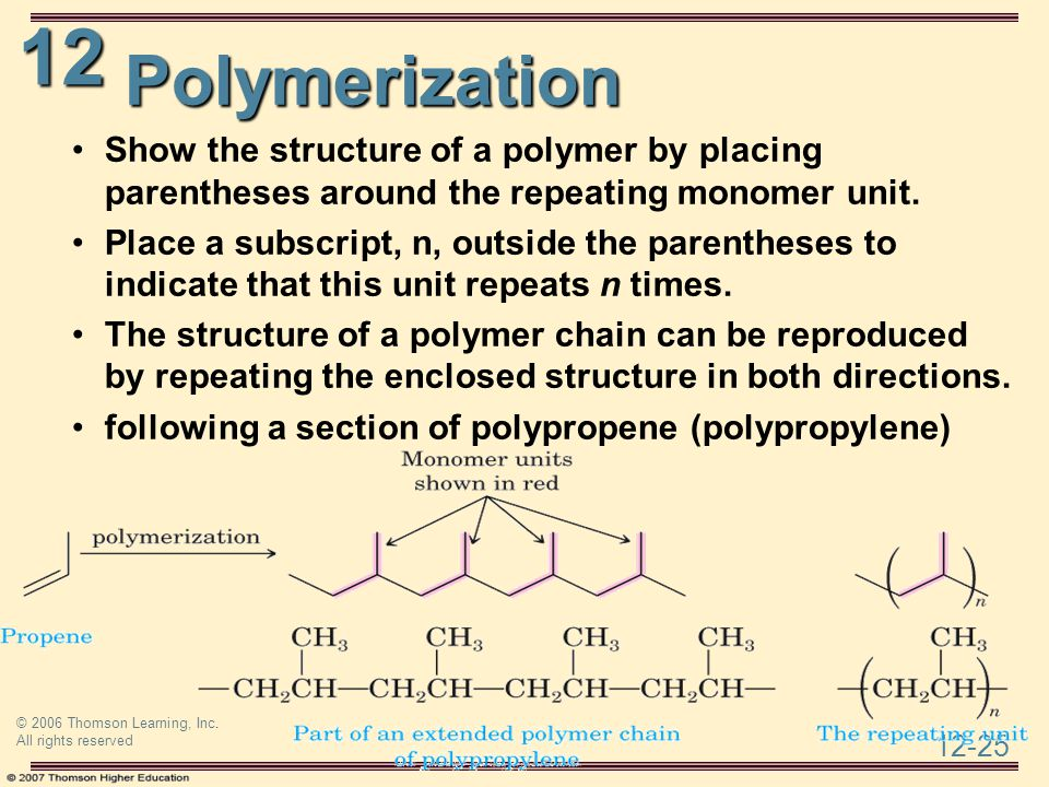 Polymerization Show the structure of a polymer by placing parentheses around the repeating monomer unit.
