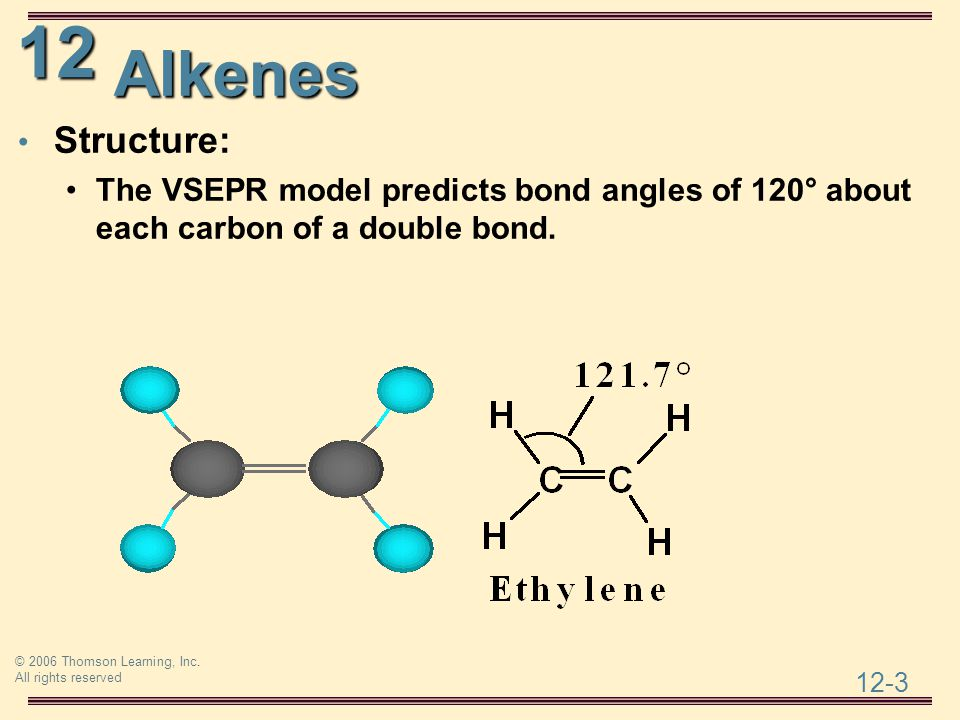 Alkenes Structure: The VSEPR model predicts bond angles of 120° about each carbon of a double bond.