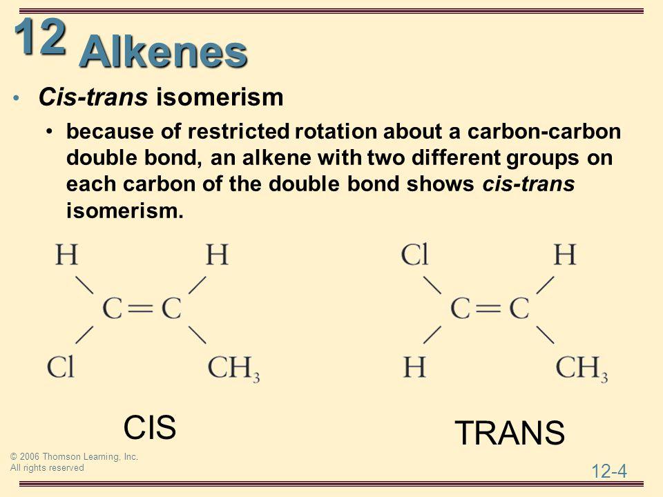 Alkenes CIS TRANS Cis-trans isomerism