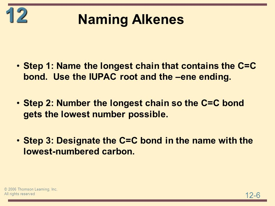 Naming Alkenes Step 1: Name the longest chain that contains the C=C bond. Use the IUPAC root and the –ene ending.