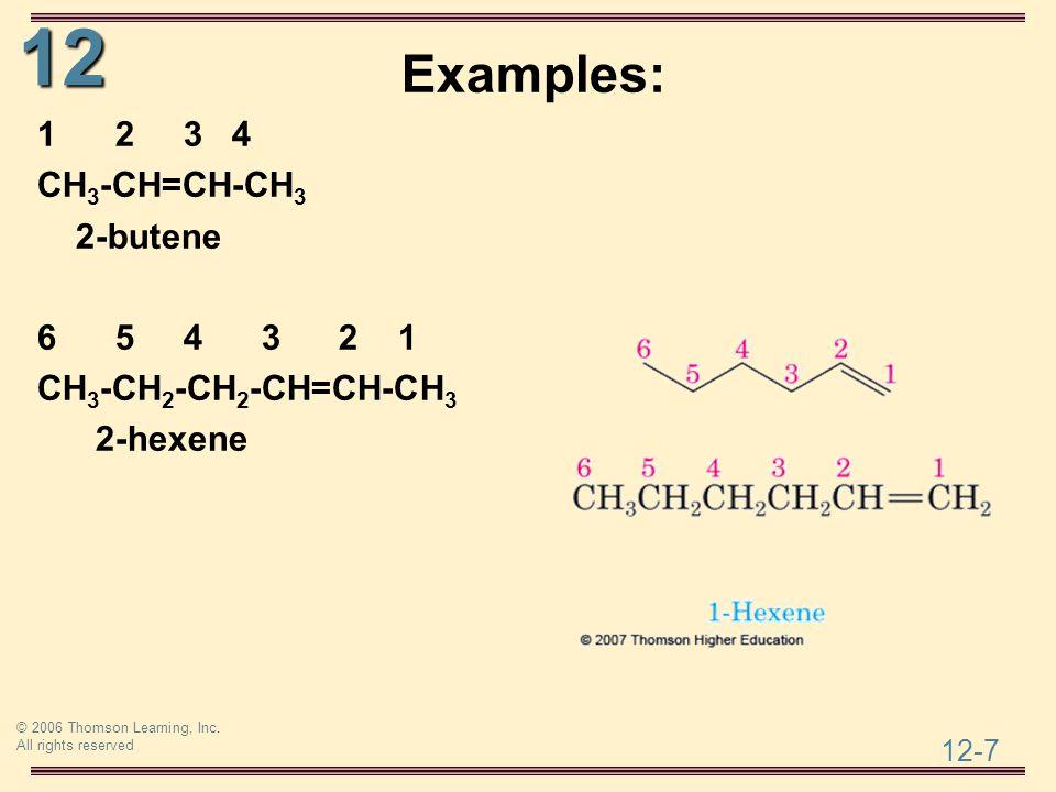 Examples: 1 2 3 4 CH3-CH=CH-CH3 2-butene 6 5 4 3 2 1