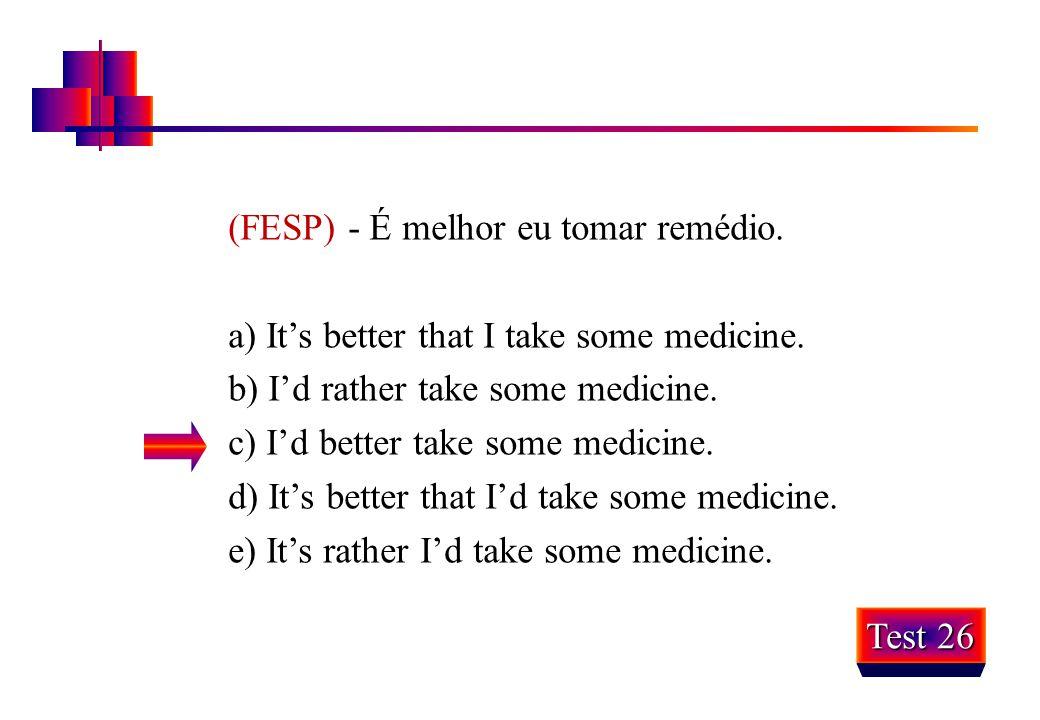 (FESP) - É melhor eu tomar remédio.