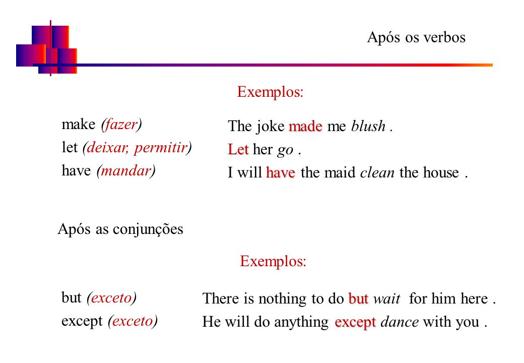 Após os verbos Exemplos: make (fazer) let (deixar, permitir) have (mandar) The joke made me blush .