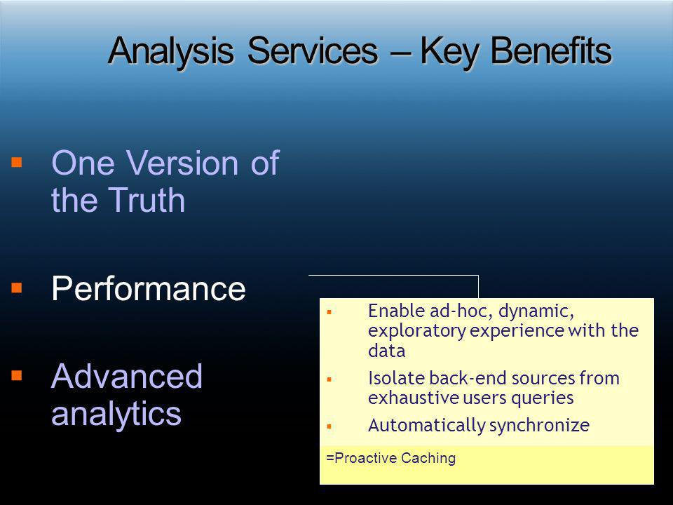 Analysis Services – Key Benefits